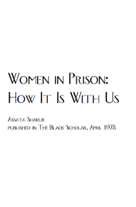 Women in Prison; How it is With Us cover pic
